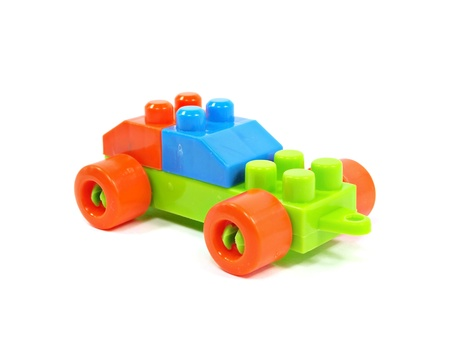 plastic building blocks car on a white background    Stock Photo