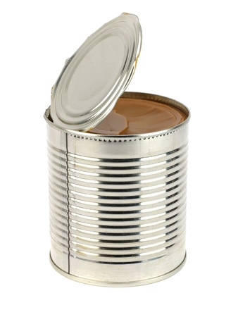 can of caramelized condensed milk on white background  photo