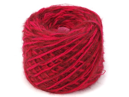 mohair: red wool ball on a white background