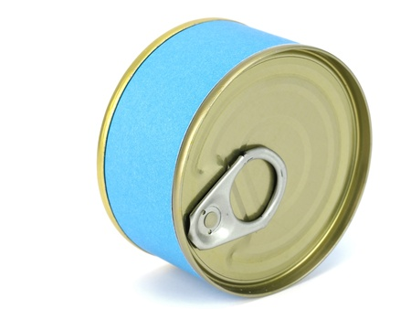 tunafish: bank of canned tuna fish with blue label on a white background