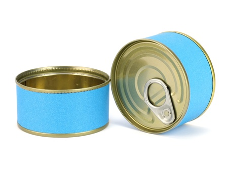 bank of canned tuna fish with blue label on a white background