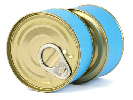bank of canned tuna fish with blue label on a white background photo