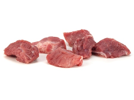 pices: Raw pork pices on a white background