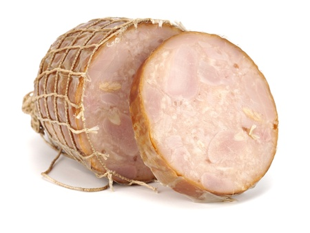 chicken meat sausage on a white background