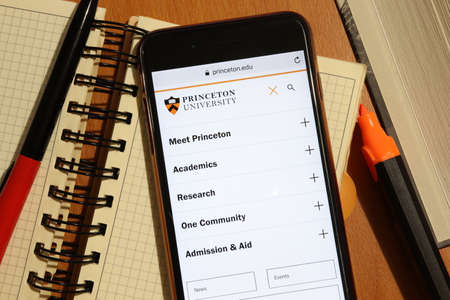 Los Angeles, California, USA - 7 December 2019: Phone screen with Princeton University website page top view. Higher education admission concept, Illustrative Editorial.