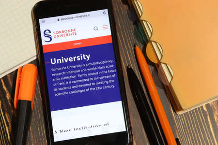 Los Angeles, California, USA - 7 December 2019: Mobile phone screen with Sorbonne University website page close-up. Higher education admission and overview concept, Illustrative Editorial. Éditoriale