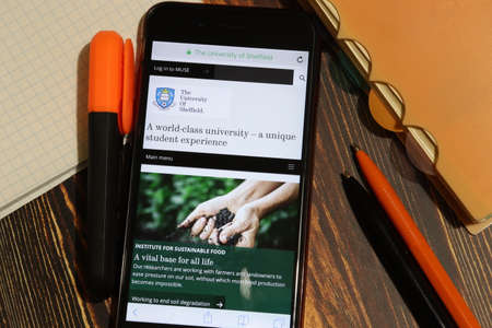 Los Angeles, California, USA - 7 December 2019: Mobile phone screen with University of Sheffield website page close-up. Higher education admission and overview concept, Illustrative Editorial.