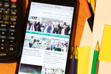 Saint-Petersburg, Russia - 10 January 2020: Phone screen with KIT, Karlsruhe Institute of Technology website page. Higher education admission concept, Illustrative Editorial. Editorial
