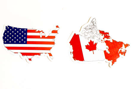 National flags of USA and Canada on white background with copy space.