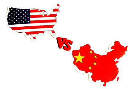 China vs USA concept. America against China news, politics illustration. Copy space.