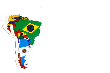 National flag of South America. Continent outline on white background with copy space. Politics illustration.