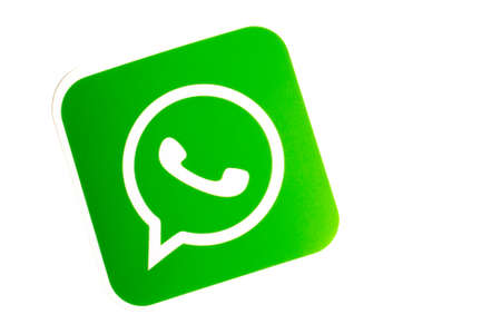 Los Angeles, California, USA - 17 January 2020: WhatsApp logo on white background with copy space. Social media icon, Illustrative Editorial.