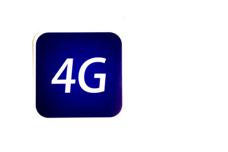 4G icon on white background with copy space.