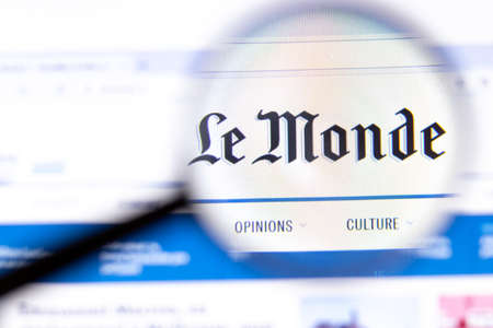 Los Angeles, California, USA - 18.02.2020: Le Monde website page with close up logo. Lemonde.fr site icon on screen, Illustrative Editorial.