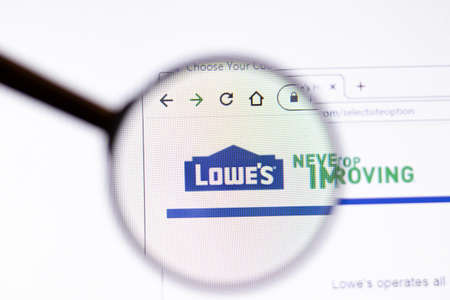 Los Angeles, California, USA - 15 March 2020: Lowes icon on website page. Lowes.com logo visible on display screen, Illustrative Editorial. Editorial