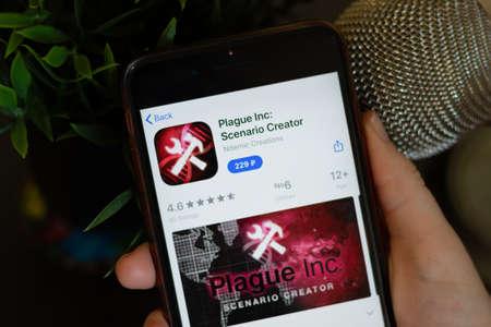 New York, USA - 1 May 2020: Plague Inc Scenario Creator app icon logo on mobile phone screen close-up, Illustrative Editorial.