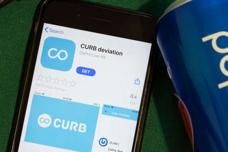 New York, USA - 15 May 2020: CURB deviation mobile app logo on phone screen, close-up icon, Illustrative Editorial.