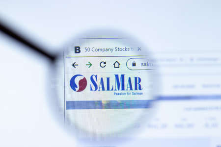 Moscow, Russia - 1 June 2020: Salmar.no website page. SalMar ASA logo on display screen, Illustrative Editorial