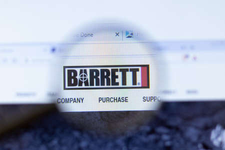 Moscow, Russia - 1 June 2020: Barrett Firearms Manufacturing website with logo , Illustrative Editorial.
