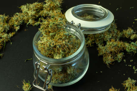 Legal commercial cannabis business online. Delivery of marijuana, weed in jar. Foto de archivo