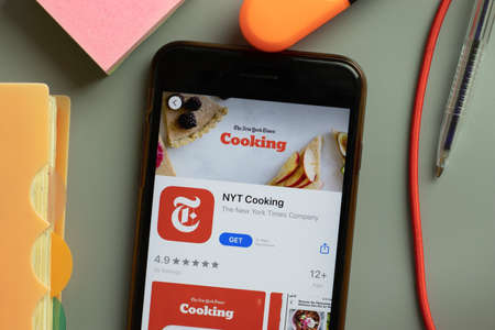 New York, USA - September 29, 2020: NYT Cooking mobile app logo on phone screen close up, Illustrative Editorial.