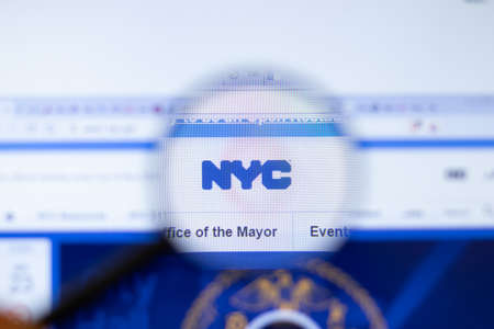 New York, USA - September 29, 2020: NYC nyc.gov company website with logo close up, Illustrative Editorial.