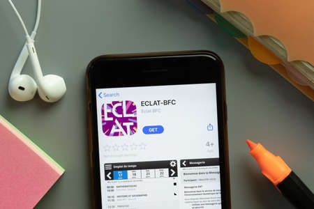 New York, USA - 1 December 2020: ECLAT-BFC mobile app icon on phone screen top view, Illustrative Editorial. Éditoriale