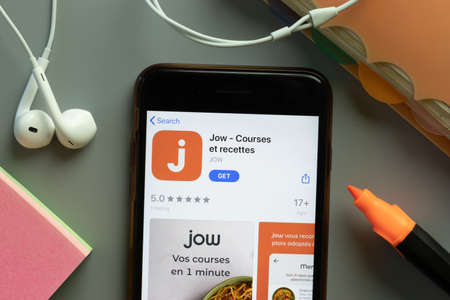 New York, USA - 1 December 2020: Jow mobile app icon on phone screen top view, Illustrative Editorial.