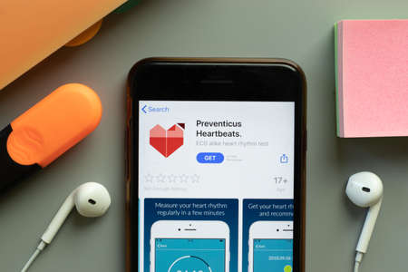 New York, USA - 1 December 2020: Preventicus Heartbeats. mobile app icon on phone screen top view, Illustrative Editorial.