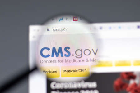 New York, USA - 15 February 2021: CMS Centers for Medicare website in browser with company , Illustrative Editorial