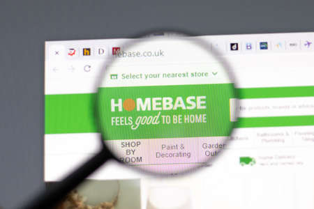 New York, USA - 15 February 2021: Homebase website in browser with company logo, Illustrative Editorial
