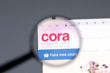 New York, USA - 15 February 2021: Cora website in browser with company logo, Illustrative Editorial