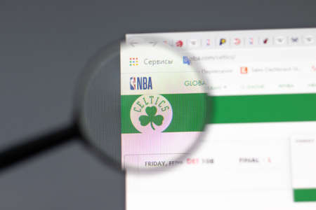 New York, USA - 15 February 2021: Boston Celtics website in browser with company logo, Illustrative Editorial