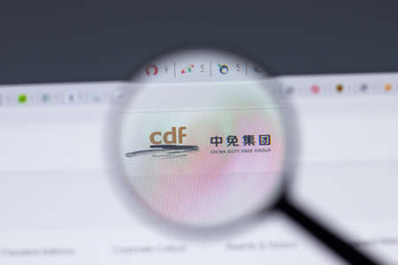 New York, USA - 17 February 2021: cdf China Tourism Group Duty Free logo close up on website page, Illustrative Editorial