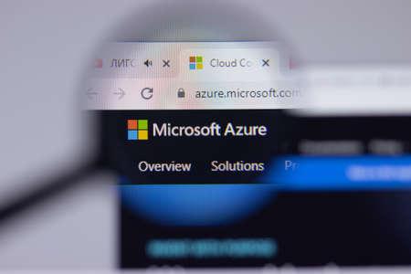 New York, USA - 26 April 2021: Microsoft Azure logo close-up on website page, Illustrative Editorial