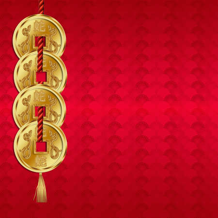 Chinese New Year - Year Of The Snake Background  Greeting Card