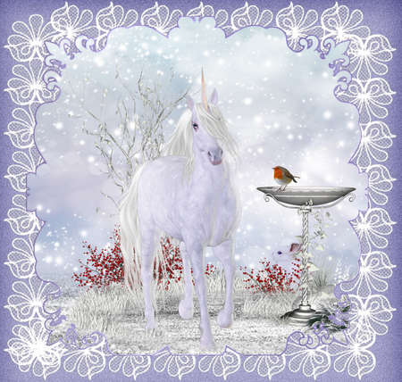 Winter Fantasy Unicorn Scenery With Robin Greeting Card   Background  photo