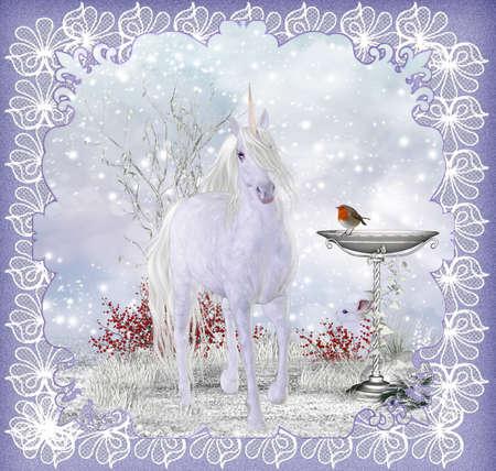 robin: Winter Fantasy Unicorn Scenery With Robin Greeting Card   Background