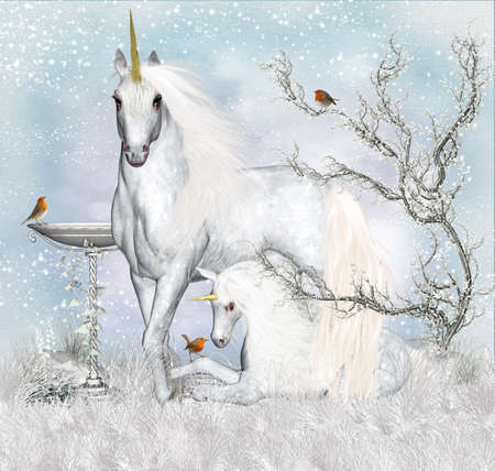 fantasy art: Fantasy Unicorn Winter Holiday Background   Greeting Card  Stock Photo