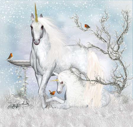 Fantasy Unicorn Winter Holiday Background   Greeting Card  Stock Photo