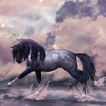 fantasy art: Fantasy Horse Greeting Card   Background  Stock Photo