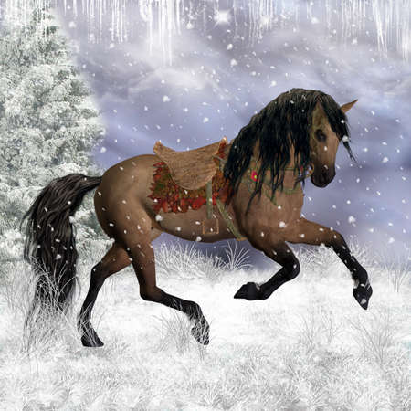 fantasy art: Fantasy Winter Horse In The Snow, Greeting Card  Background  Stock Photo