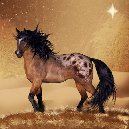 Equine Horse Christmas Holiday Card Or Wall Art  Stock Photo