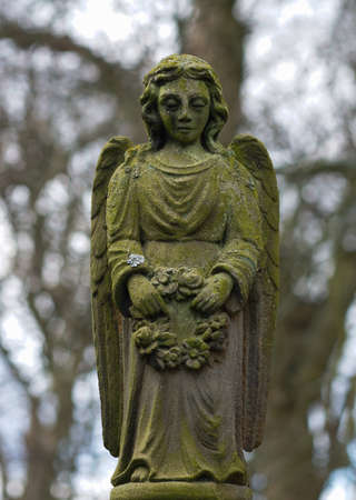 weeping angel: Stone Angel  Stock Photo
