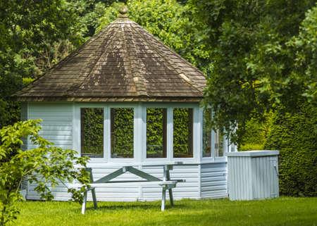 wooden summer house in a garden  Stock Photo