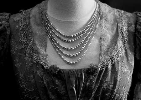 edwardian: Edwardian Dress Detail With Pearl Necklace