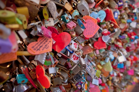 amorousness: lock of love, seoul tower Stock Photo