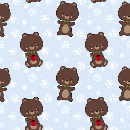 cofee: Seamless vector pattern with cute bears holding cofee cups. Illustration