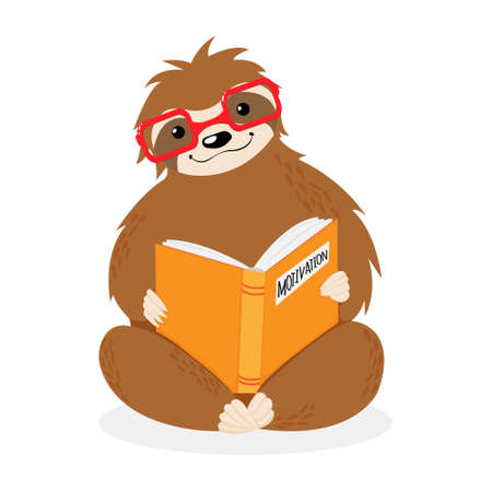 Vector little sitting sloth in red glasses reading yellow motivation book. Hand drawn scandinavian art in cartoons style. Cute childish animal art isolated on white background. Motivation concept.