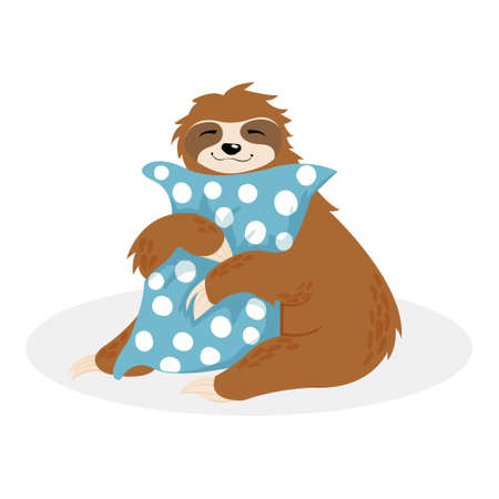 Hand drawn vector sitting cute sloth hug blue pillow with white dots. Scandinaian illustration of little animals in cartoons style isolated on white background. Kawaii lazy sloth sleeping on cushion Foto de archivo - 137240069
